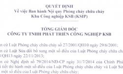 Quyết định Ban hành Nội quy PCCC của Khu Công nghiệp KSB