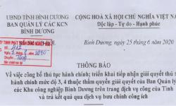 305-TB-BQL – Công bố thủ tục hành chính, triển khai tiếp nhận, giải quyết thủ tục hành chính mức độ 3,4 thuộc thẩm quyền giải quyết của Ban quản lý KCN tỉnh Bình Dương